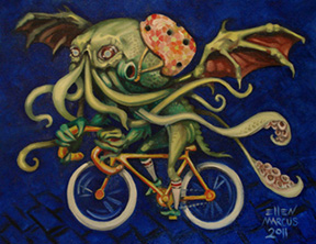 "For Sale: ""Cthulhu on a Bicycle"" Oil on Canvas - 14"" x 18"""