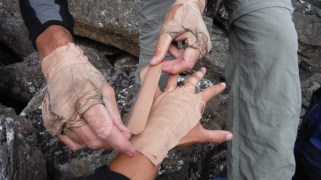 Making gloves to protect your hands in the crags...