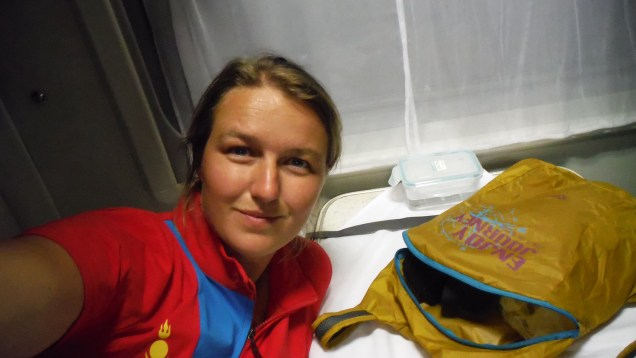 There I am in the Transmongolian, wearing the shirt that almost made me loose the train