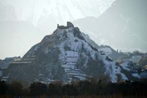 Sion and the Turbillon castle, view from the autoroute near Granges