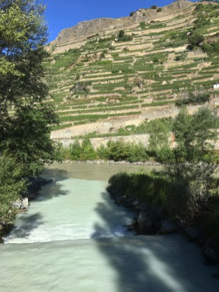 Tributary rushing into a much browner Rhone river near Sion; magnificent terraced vines next to the river