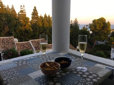 Aperitif time in southern Spain, Andalusia: sherry and Regañõs, little simple dry olive oil crackers that are perfect for sea-gazing at dusk.
