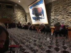 No, we are not praying, but yes, we are grateful: 20 years of Cayas Syrah wines to taste. I'm glad I didn't ask my doctor if this is all right, 11 days after surgery. Stopped the painkillers yesterday.