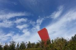 Sculptor Arnaldo Comodoro's giant red arrow marks the spot