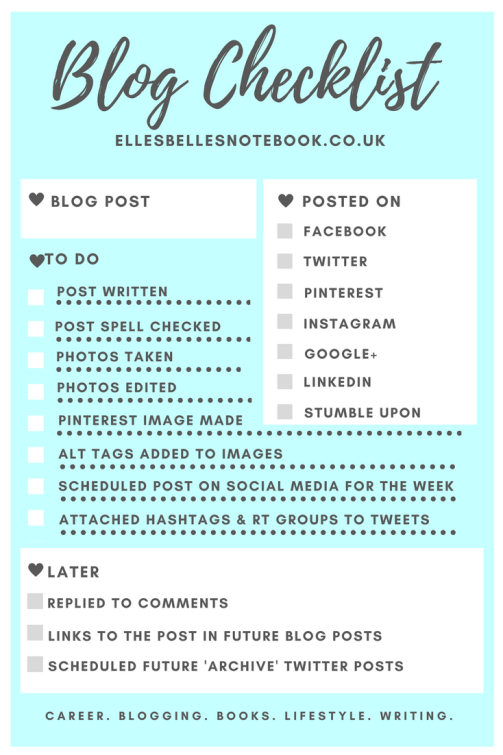 Social Media & Blog Checklist