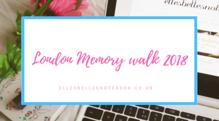 London Memory Walk 2018 header