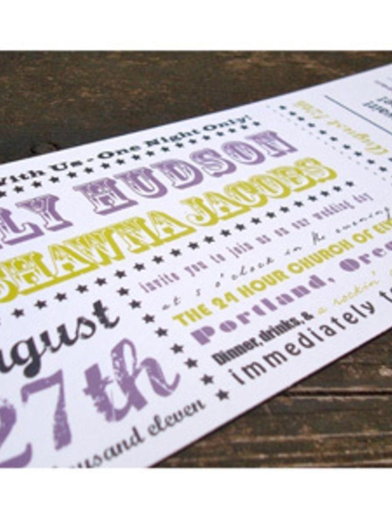 Concert Ticket Style Wedding Invites