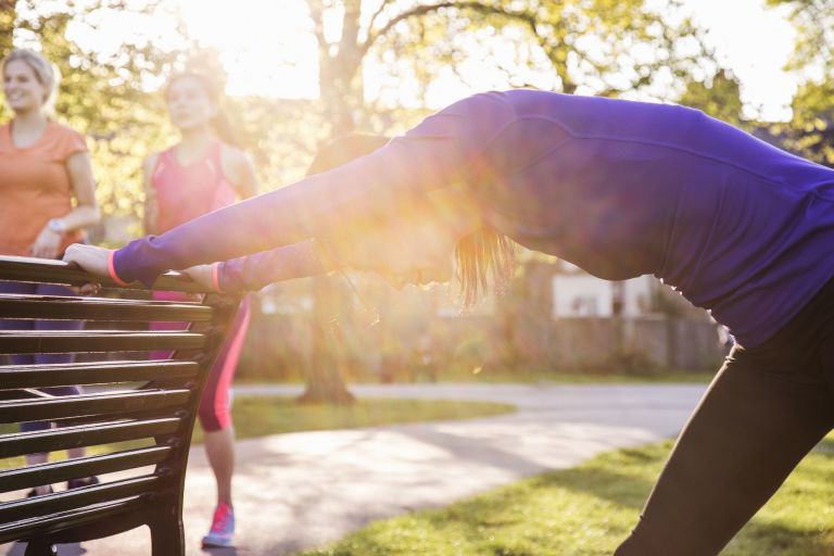 Use A Park Bench To Stretch | ELLE UK