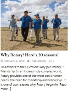 Why Rotary? Here's 20 reasons!