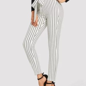 stripped frill bow tie pants
