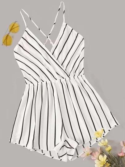 stripped necklace romper