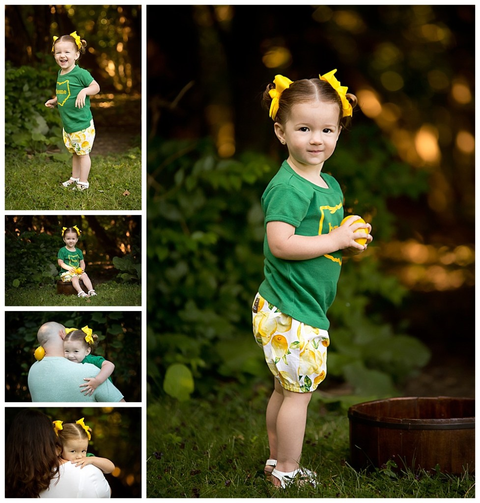 Collage of two year old girl in lemon print shorts