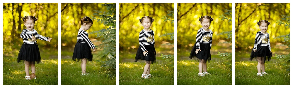 Collage of little girl in the woods