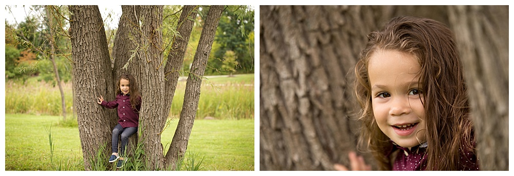 collage of little boy posing in a tree