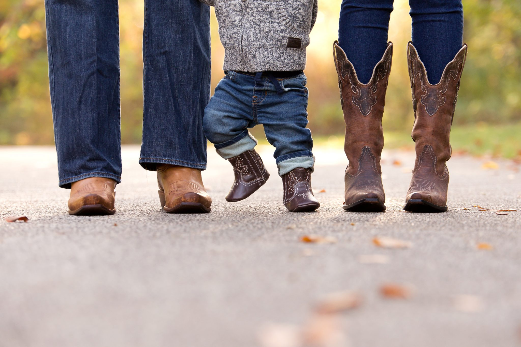photo of a family's cowboy boots