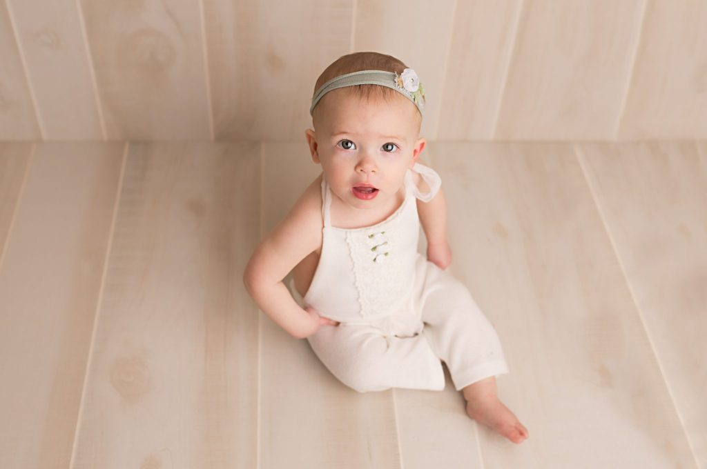 one year old girl in-studio session
