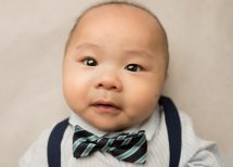three month old baby boy with striped bow tie