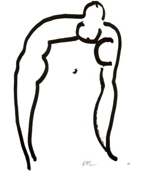 Large Woman Acrobat, 1952. Paint-brush and Indian Ink, 105 x 75cm. Musée Matisse, Nice