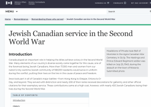 Veterans Affairs Canada website about Jewish WWII soldiers