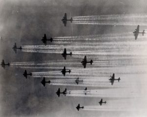 100th bomb group on way to target con. trails moderate  Sept 1944