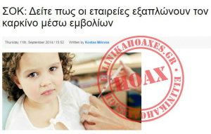 ΣΟΚ: Δείτε πως οι εταιρείες εξαπλώνουν τον καρκίνο μέσω εμβολίων