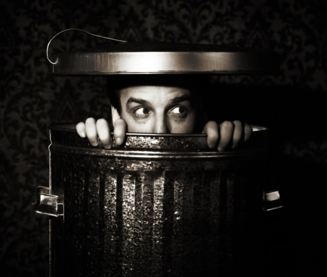 man in trashcan
