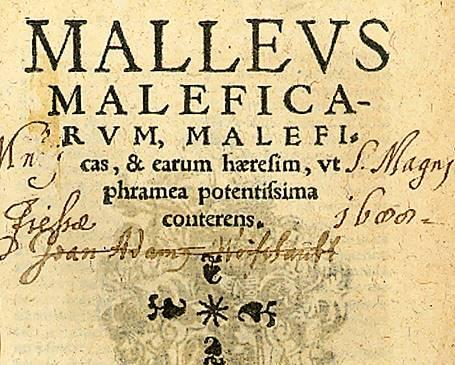 ο εξώφυλλο της έβδομης έκδοσης του Malleus Maleficarum, η οποία τυπώθηκε στην Κολωνία το 1520 (πηγή: Βιβλιοθήκη του Πανεπιστημίου του Σίντνεϊ)