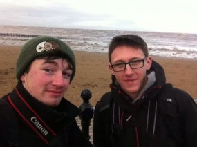 Myself and fellow young Wirral birder Luke Anderson finishing off a High Tide sea watch off of Hoylake, Wirral