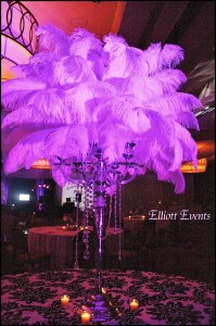 Feathers and Candelabra Centerpiece
