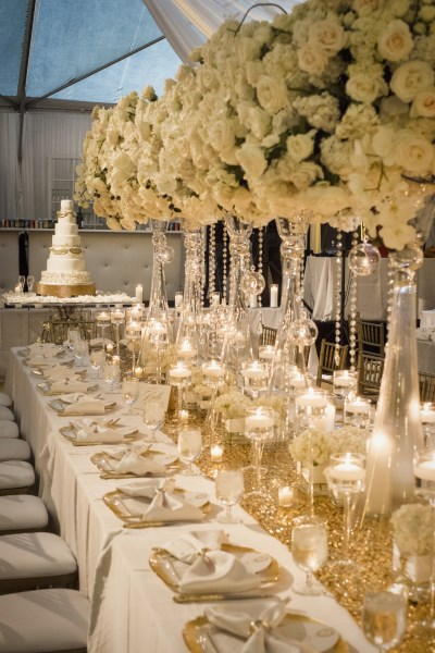 white and gold wedding centerpiece, nashville wedding designer