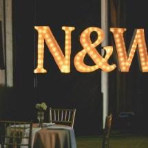 initials, wedding initials, initials in lights