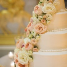 dessert designs, cascading flowers, peach and blush flowers