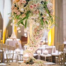 cascading flowers centerpiece, weddings, peach and blush flowers