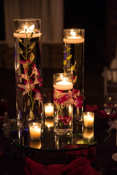 cylinder vases, candles, purple, orchids