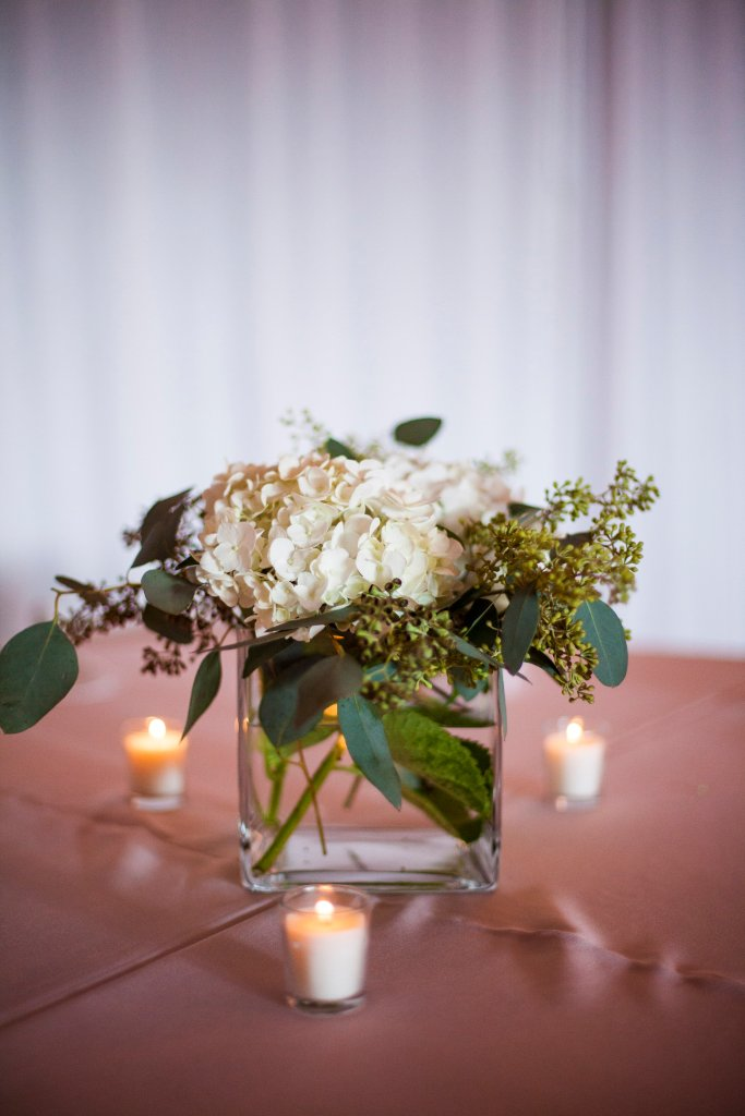 greenery, white hydrangeas, candles