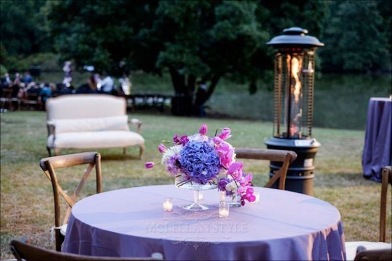 fall wedding, purple wedding, heaters, outside