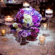 centerpiece, purple flowers, orchid