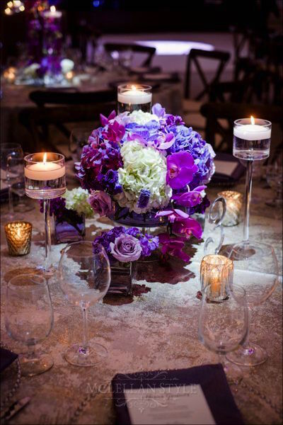 floral design, arrangement, purple accents
