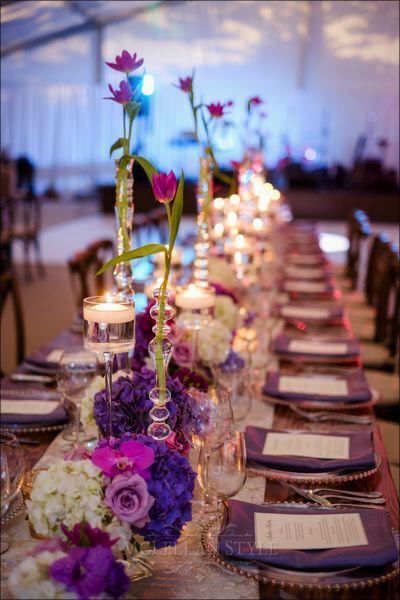tulips, long table, purple decor