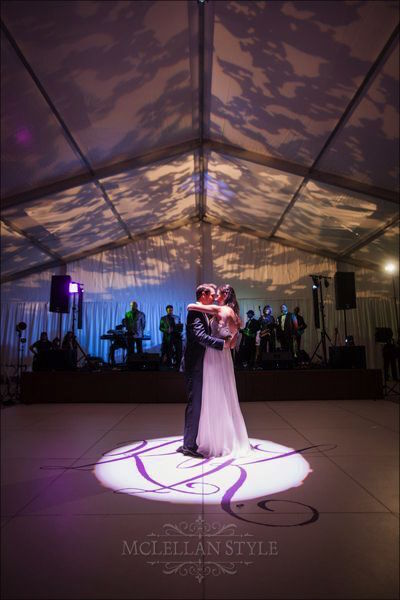 bride and groom first dance, monogrammed dance floor