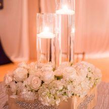 cylinder vases, roses, hydrganeas