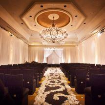 petal design, aisle runner, nfl wedding