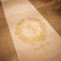nfl wedding, aisle runner, ceremony