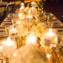 sequin linen, orchids, roses, candles