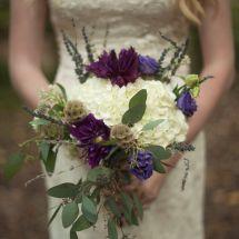 unique bride bouquet, greenery, purple