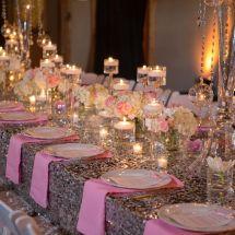 silver sequin linen, pink