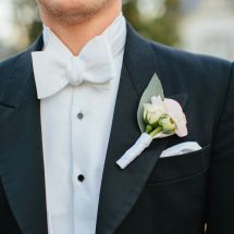 pink boutonniere, white bowtie