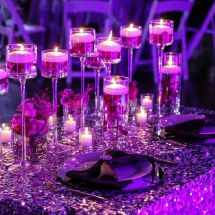 sweetheart table, purple, orchids