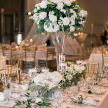 white, green, roses, greenery, table piece