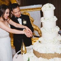 cut the cake, wedding, reception, bride and groom